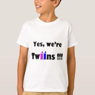Camiseta o yes era gêmeos cor-de-rosa-azuis