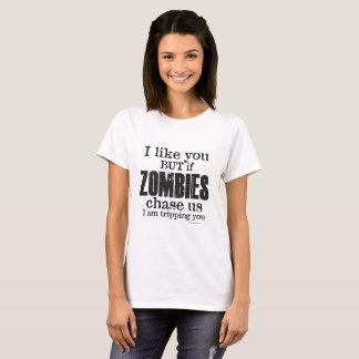 Camiseta O ZOMBI das mulheres eu estou tropeçando-o