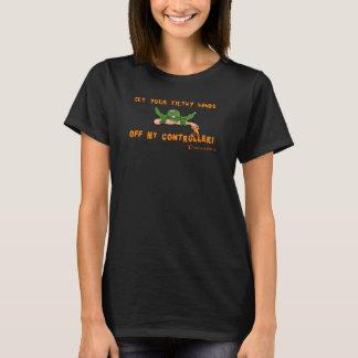 Camiseta O zombi obtem suas mãos fora de meus obstinados do