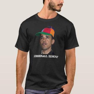 Camiseta Obama, preto LIBERAL do IDIOTA