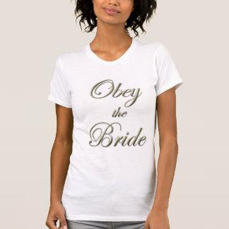 Camiseta Obedeça a camisola de alças da noiva