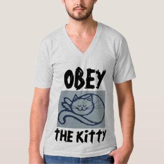 Camiseta OBEDEÇA o GATINHO, os t-shirt engraçados do gato &