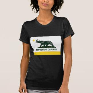Camiseta Obscuridade da bandeira de Oakland (atletismo)