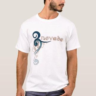 Camiseta Obscuridade encaracolado azul do t-shirt de Nevada