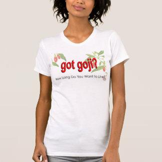 """Camiseta """"Obteve Goji?"""" Quanto tempo você quer viver?"""