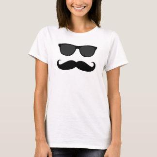 Camiseta Óculos de sol do bigode do hipster