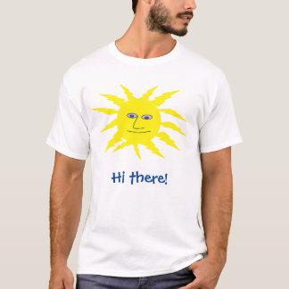 Camiseta Olá! lá design amarelo legal de Sun