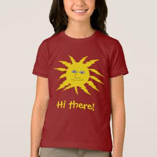 Camiseta Olá! lá Sun amarelo amigável bonito enfrenta o