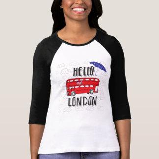 Camiseta Olá! sinal indicado por letras da mão de Londres |