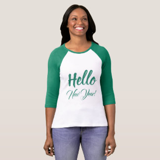 Camiseta Olá! texto do costume do verde da tipografia do