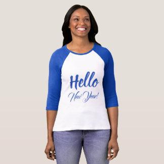 Camiseta Olá! texto feito sob encomenda azul da tipografia
