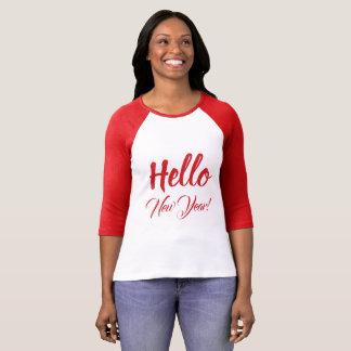 Camiseta Olá! texto feito sob encomenda vermelho da