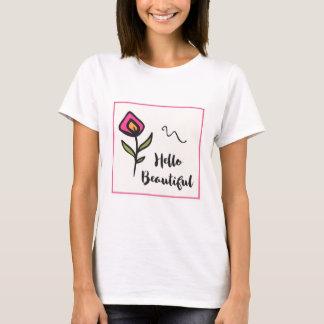 Camiseta Olá! Wildlflower alaranjado cor-de-rosa bonito