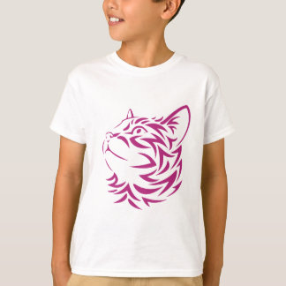 Camiseta Olhando o estêncil esquerdo da cara do gatinho do