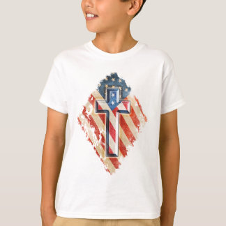 Camiseta Olhar cristão do vintage da cruz da fé da bandeira