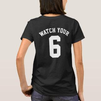 Camiseta Olhe seu seis t-shirt traseiros do impressão