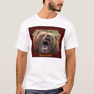 """Camiseta """"Onde é meu café?"""" T-shirt do urso"""