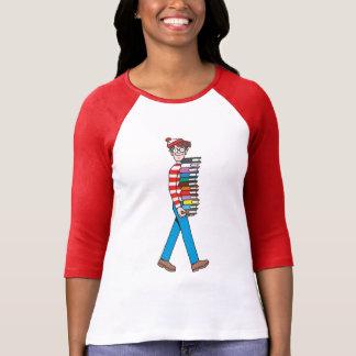 Camiseta Onde está a pilha do carregando de Waldo de livros