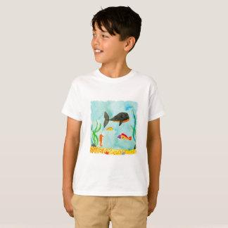Camiseta Opinião do mar da aguarela com baleia e cavalo