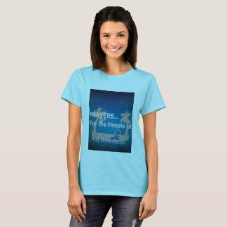 Camiseta Orações para as pessoas de Puerto Rico. O T das