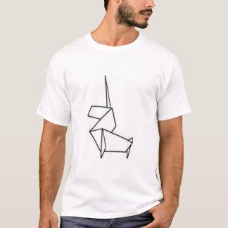 Camiseta origami do unicórnio