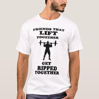 Camiseta OS AMIGOS QUE LEVANTAM JUNTO obtêm rasgados junto