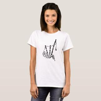 Camiseta Os Bagpipes mostram em silhueta o branco