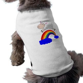 Camiseta Os carneiros que saltam o arco-íris