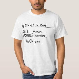 Camiseta Os direitos do igual da terra do lugar de