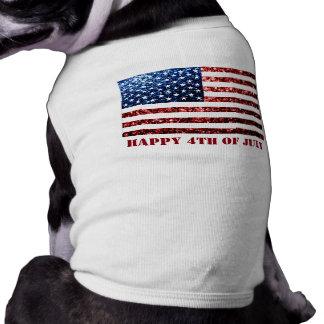Camiseta Os EUA embandeiram sparkles brilhos o cão azul