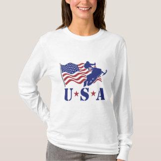 Camiseta Os EUA Snowmobile o t-shirt longo da luva