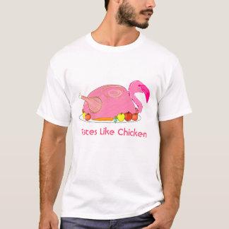 Camiseta os gostos do flamingo gostam da galinha