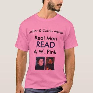 Camiseta Os homens reais LERAM A.W. Cor-de-rosa