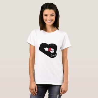 Camiseta Os lábios Trinidad de Sharnia & os lábios do preto