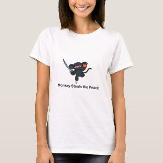 Camiseta Os macacos de Ninja do vôo roubam o pêssego