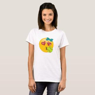 Camiseta Os olhos Kissy do coração de Emoji do softball