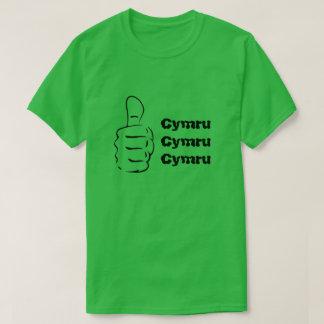 Camiseta Os polegares levantam e Cymru três vezes