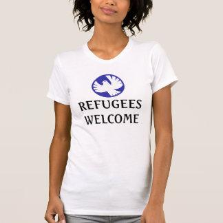 Camiseta Os refugiados dão boas-vindas à pomba da paz