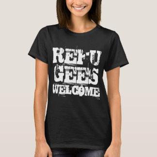 Camiseta Os refugiados dão boas-vindas em EUA América por