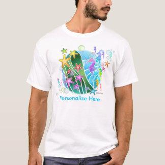 Camiseta Os t-shirt leves dos homens - sob o pop art do mar