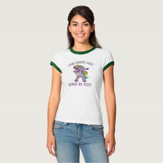Camiseta Os unicórnios são em 1929 pose de toque ligeiro