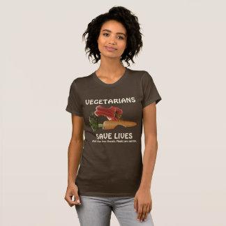 Camiseta Os vegetarianos engraçados salvar vidas