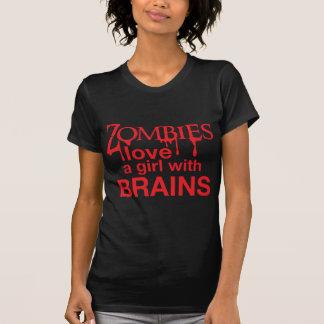 Camiseta Os zombis amam uma menina com cérebros!