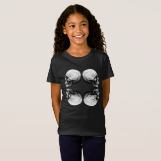 Camiseta Ossos protetores preto e branco do crânio X4 do