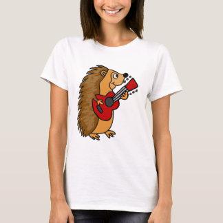Camiseta Ouriço bonito que joga a arte da guitarra