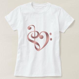 Camiseta Ouro cor-de-rosa do coração da música na forma do