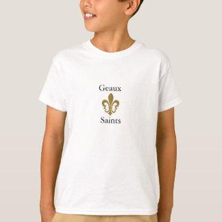 Camiseta ouro da flor de lis, Geaux, santos