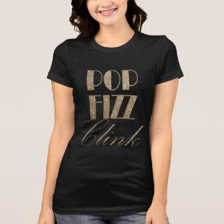 Camiseta Ouro da véspera de ano novo e Clink preto do Fizz
