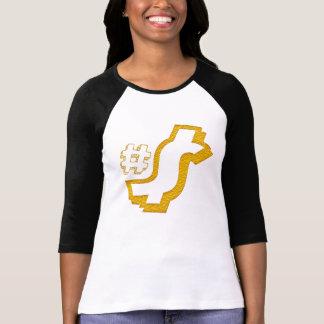 Camiseta ouro do design do t-shirt do sinal de dólar do