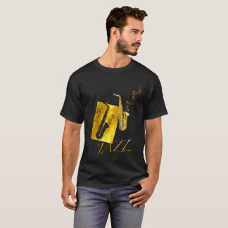 Camiseta Ouro do saxofone do saxofone do jazz